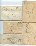 NIEVRE De CORBIGNY 5 LAC De 1843 à 1848 Avec Dateur T 14 Et Taxe De 2 Pour CLAMECY - Postmark Collection (Covers)