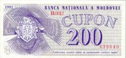 Moldova 200 Cupon 1992  Pick 2 UNC - Moldavie
