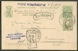 5c. Adolphe + Tp 30centimes Obl. Dc LUXEMBOURG-VILLE En Recommandé (recomandirt) 31-12-1901 + Griffe AUSLAGEN Contre-rem - Stamped Stationery