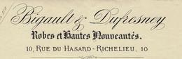 """1883 FACTURE AVEC ENTETE BIGAULT DUFRESNEY """"ROBES  Et HAUTES NOUVEAUTÉS"""" Paris Rue Du Hasard Richelieu B.E.VOIR SCANS - France"""