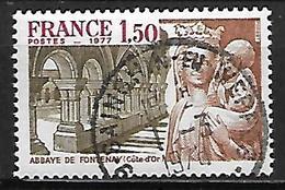FRANCE   -   1977.    Y&T N° 1938 Oblitéré Cachet Rond .   Abbaye De Fontenay   (Côte D'Or ) - France