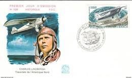 FRANCE Poste Aérienne 50 FDC 1er Jour Ch. LINDBERGH Nungesser Coli Traversée Atlantique Nord RYAN Spirit Of St Louis - Concorde