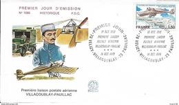 FRANCE Poste Aérienne 51 FDC 1er Jour 1ère Liaison Aérienne Villacoublay-Pauillac 1913 Lt RONIN - FDC