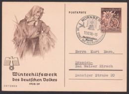 DR GA P 274/01 Winterhilfswerk 1938/39 Oktober, SoSt. Nürnberg Christkindles-Markt, Bäuerin - Deutschland