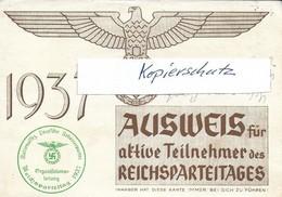 Propaganda, Hitler, Nazi, Drittes Reich, Reichsparteitag, Hakenkreuz, Swastika, Ausweis - Guerra 1939-45