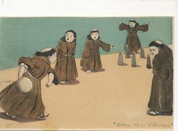 Entre Messe Et Vepres Petits Moines Au Bowling Signée EP Avant 1903 Undivided Back Monks Playing Quilles Pin Skittle - Bowling