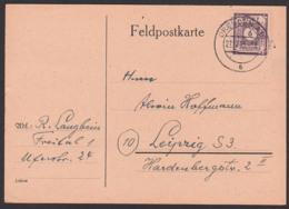 SBZ Ostsachsen Karte 6 Pf Ziffern DRESDEN 27.1.46 Mi. 58 - Zone Soviétique