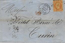 1864 - Lettre De Paris / R. St LAZARE  Affr. N°23 Oblit. étoile 2  + PD Rouge Pour Turin ( Italie ) - Marcophilie (Lettres)
