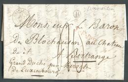 LAC De DOMMARTIN Le 23 Août 1848 (boîte Rurale B) Via Dc CHATENOIS (vosges) + Griffe Rouge L.F.R.2. Vers Birtrange GD De - Postmark Collection (Covers)