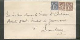 1c. + 2x2C. SAGE Obl. Dc MONCHY (HUMIERES) (OISE) Sur Faire-part De Deuil (Comte De Huyttens De Terbecq)  Le 7 Juillet 1 - 1876-1898 Sage (Type II)