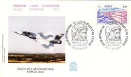 FRANCE Poste Aérienne 54 FDC Salon Aéronautique Le Bourget 1981 Spationaute GAMD Mirage 2000 - FDC