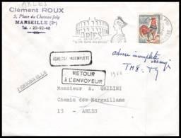 Lettre-0876 Bouches Du Rhone N°1331a Coq Flamme Petite Rome Retour à L'envoyeur Arles 1966 - Postmark Collection (Covers)