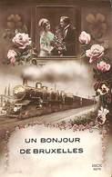 Bruxelles (un Bonjour) - Train Loco Rex Censure 1916 Pour Jodoigne - Transport Urbain Souterrain