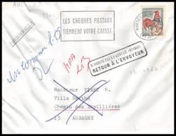 Lettre-0996 Bouches Du Rhone N°1331a Coq Retour à L'envoyeur Aubagne 1966 - Postmark Collection (Covers)