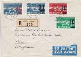 Suisse - Lettre Recom De 1936 - Oblit Basel Flugplatz - Exp Vers Bern - Valeur 50 Euros ( 28 + 22 ) - Covers & Documents