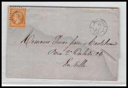 LSC Lettre-0005 Bouches Du Rhone Marseille Napoléon N°13A 1854 Pc 1896 1er Arrondissement  TB - Postmark Collection (Covers)
