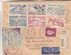 France - Lettre Recom De 1953 - Oblit Paris - Exp Vers New York -escrime-canoë-aviron-natation-hippisme-  Valeur 100 € - France