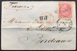 40 Cent DLR Tiratura Torino, Su Busta Firenze 16/5/1866 Per Bordeaux (Francia) - 1861-78 Vittorio Emanuele II