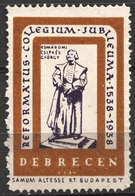 Reformed College Anniv. 1938 DEBRECEN CINDERELLA VIGNETTE LABEL Samum Altesse Cigarette Paper Cigar Box Industry - Cristianismo