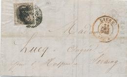 182/28 - Lettre TP Médaillon LIEGE 1854 Vers OUGREE - TB Entete Magasin Porcelaines, Faiences, Lampes Rassenfosse-Brouet - 1851-1857 Medaillons (6/8)