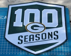 """2018 GREEN BAY PACKERS 100 SEASONS COMMEMORATIVE PATCH FOOTBALL 10"""" EMBROIDERY - Green Bay Packers"""