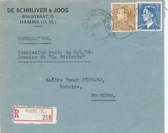 183/28 - Lettre Recommandée TP De Bast Et Poortman HAMME Vl. 1953 Vers BURDINNE - Entete De Schrijver § Joos - België