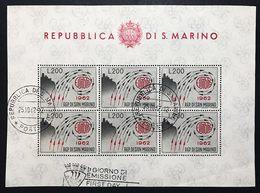 SAN MARINO 1962 Foglietto Annullato Primo Giorno COD FRA.1180 - Nuovi