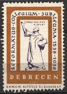 Pastor Reformed College Anniv. 1938 DEBRECEN CINDERELLA VIGNETTE LABEL Samum Altesse Cigarette Paper Cigar Box Industry - Cristianismo