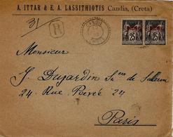 1902- DEVANT ( Front ) D'enveloppe à En-tête Affr. Paire Sage 1 Piastre 1  Oblit. Cad De CANDIE / CRETE - Crète (1902-1903)