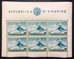 SAN MARINO 1953 Propaganda Sportiva Foglietto Sassone.15 Nuovo Firmato COD FRA.1182 - San Marino