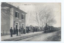 Cpa -   Dpt  -  Gard -  - Vers   -   - La Gare    - Animation (  Selection  )  Rare 1924 - Other Municipalities