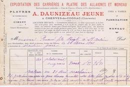 CHARENTE - CHERVES De COGNAC - A. DAUNIZEAU Jeune - Carrières à Platre Des Allaignes Et Mongau - France
