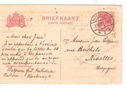 2709/ 14-18 Entier NL CP 5c C.Hardewijk 1915 Griffe Destination Inaccessible Retour à L'envoyeur V.Nivelles - WW I