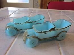2 Salerons Voiture Ancienne Bleue Vallerysthal - Glass & Crystal