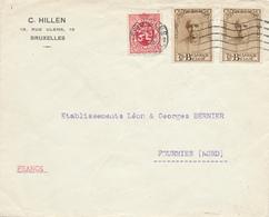 185/28 - Lettre TP Mercier 344 X 2 Et Lion Héraldique BRUXELLES 1932 Vers FOURMIES France Nord - TARIF EXACT 1 F 75 - België
