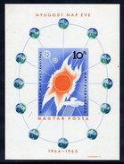 HUNGARY 1965 Quiet Sun Year Imperforate Block MNH / **.  Michel Block 46B - Blocks & Sheetlets