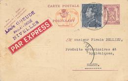 189/28 - Entier Postal Petit Sceau + TP Poortman En EXPRES - Cachet De Gare NIVELLES 1 En 1942 ( Cachet Type Moustache ) - Postwaardestukken