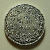 Switzerland 1/2 Franc 1940 Silver - Suiza