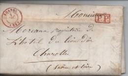 LETTRE DE  ROANNE ROUGE  01/12/47  POUR CHAROLLES T  PP  ENCADRE ROUGE - 1801-1848: Precursores XIX