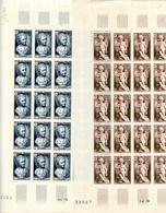 2 Feuilles 25 Timbres Croix Rouge Houdon-Falconet - Année 1950 YetT 876-877 Cote 150 Euros - Feuilles Complètes