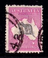 Australia 1918 Kangaroo 10/- Grey & Intense Analine Pink 3rd Wmk Used - Listed Variety - 1913-48 Kangaroos