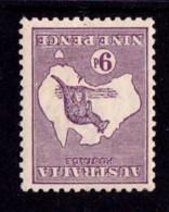 Australia 1919 Kangaroo 9d Violet 3rd Watermark INVERTED Die IIB MH - - 1913-48 Kangaroos