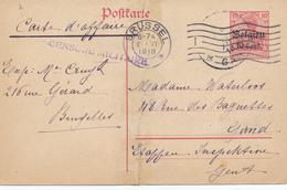 194/28 - RARE UBERROLLER - Entier Germania BRUSSEL 2 XI 1918 Vers GAND , Pas De Censure Allemande , Censure Belge - Oorlog 14-18