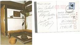 Aligi Sassu Helenita Olivares Cartolina Autografa Tokyo 17mag1987  Spedita Ad Enzo Bearzot - Autografi