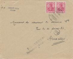 195/28 - Lettre TP Germania Allemands ( Non Surchargés) BLATON 1918 Vers BXL - Annulation Par Censure Et Zulassig 21 - Oorlog 14-18