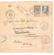 PR7005/ TP 53-76 GB S/Manchon Recom.tarif Imprimé C.Ostende 1907 V.Brugge C.d'arrivées Bruges Retour Redirigé Nieuport - 1905 Thick Beard