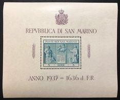 SAN MARINO 1937 INDIPENDENZA Foglietto Sassone.1 Nuovo ** COD FRA.537 - San Marino