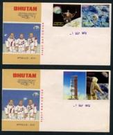 BHUTAN, FULL SET APOLLO XVI FROM 1972 ON FDCS ON 4 COVERS - RARE   Space, Astronauts - Bhoutan