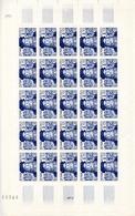 Feuille 25 Timbres Léonard De Vincy - Année 1952 YetT 929 Cote 250 Euros - Feuilles Complètes