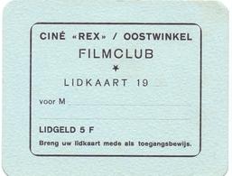Pub Reclame Ciné Cinema Bioscoop - Rex Oostwinkel - Blanco Lidkaart Filmclub - Publicité Cinématographique